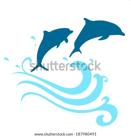 Dolphin in water blue splash - stock vector