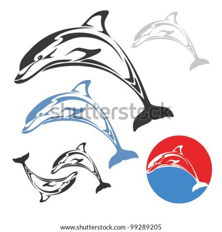 Dolphin jump - vector illustration - stock vector