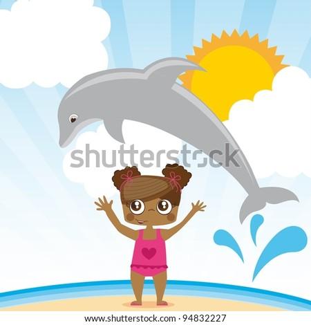 dolphin jumping a girl, summer ilustration, Vector Illustration - stock vector