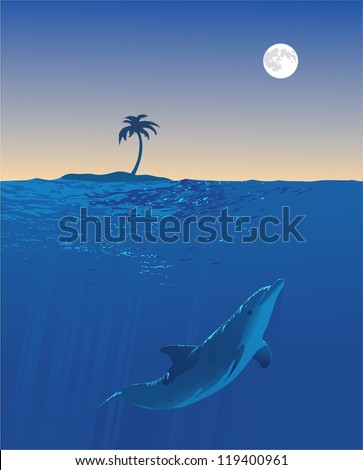 Dolphin Moon Swim.An underwater view of a dolphin swimming. Above the water a small island and the full moon can be seem. - stock vector