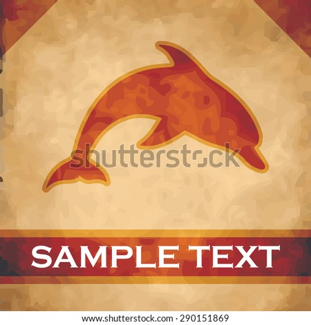 Dolphin silhouette on parchment with dark brown and gold ribbon - stock vector