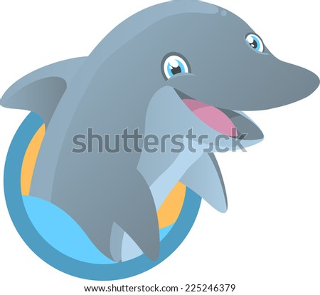 Dolphin Smiling with half body out of the water vector illustration. - stock vector