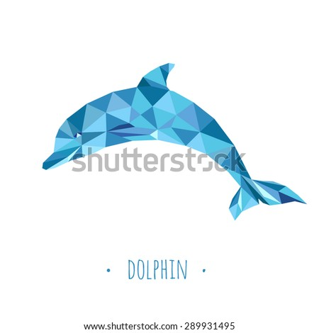 Dolphin stylized triangle polygonal model - stock vector