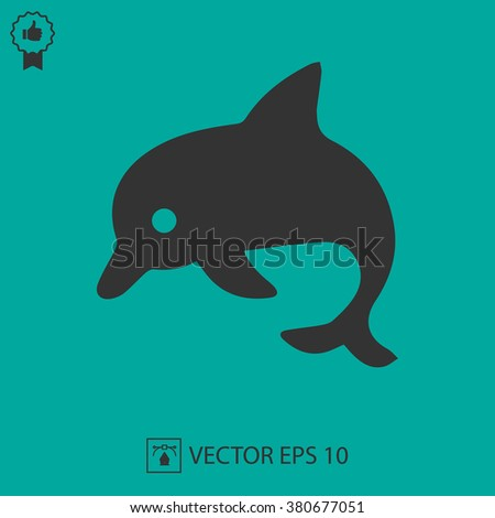 Dolphin vector icon EPS 10. Simple isolated symbol. - stock vector