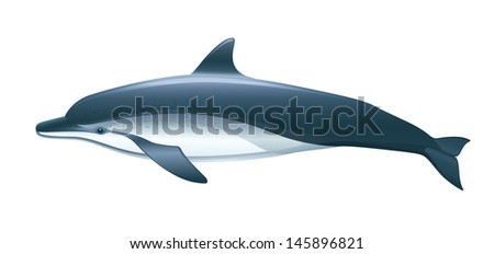 """Dolphin Vector Isolated """"Full compatible. Created with gradients."""" - stock vector"""