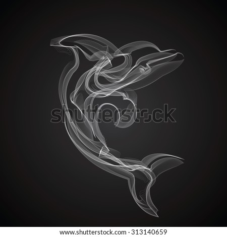Dolphin vector silhouette on a black background. - stock vector