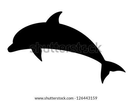 Dolphin. Vector silhouette on a white background. - stock vector