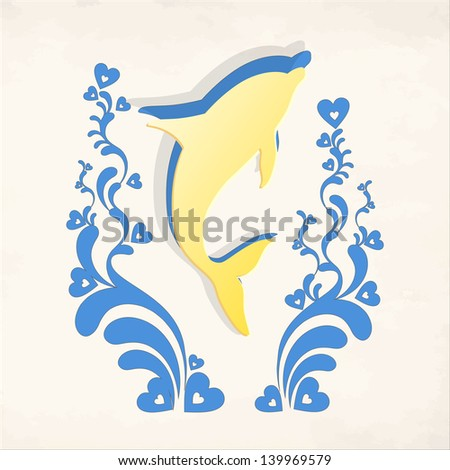 Dolphin with colorful flourish elements and decorative hearts on background. - stock vector