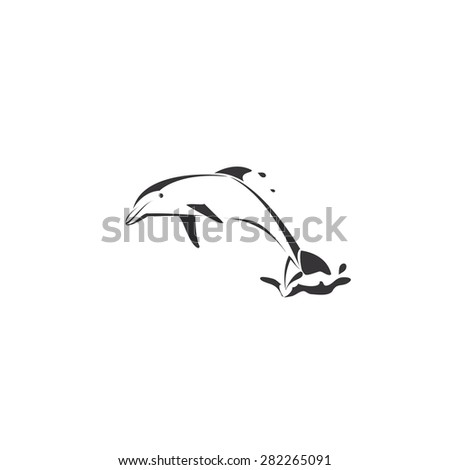 dolphins icon design vector - stock vector