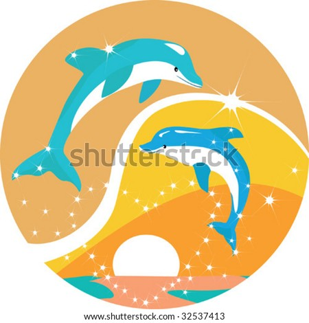 Dolphins jump out from water round an ablaze heart on sunset. - stock vector