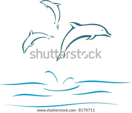 Dolphins swimming - stock vector