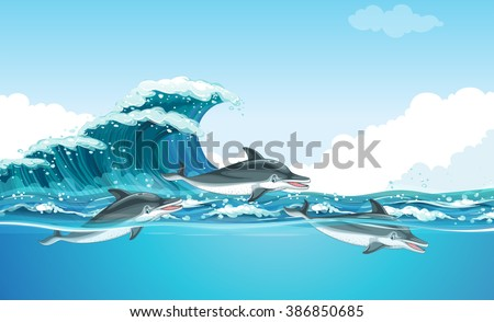 Dolphins swimming under the ocean illustration - stock vector