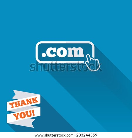 Domain COM sign icon. Top-level internet domain symbol with hand pointer. White flat icon with long shadow. Paper ribbon label with Thank you text. Vector - stock vector