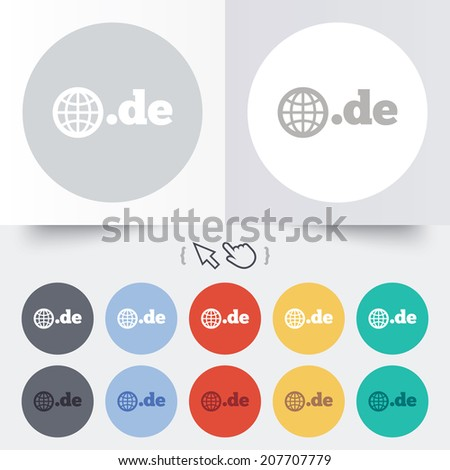 Domain DE sign icon. Top-level internet domain symbol with globe. Round 12 circle buttons. Shadow. Hand cursor pointer. Vector - stock vector