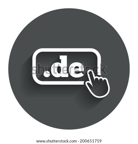 Domain DE sign icon. Top-level internet domain symbol with hand pointer. Circle flat button with shadow. Modern UI website navigation. Vector - stock vector