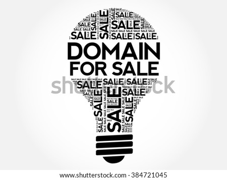 DOMAIN FOR SALE bulb word cloud, business concept background - stock vector