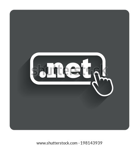 Domain NET sign icon. Top-level internet domain symbol with hand pointer. Gray flat button with shadow. Modern UI website navigation. Vector - stock vector
