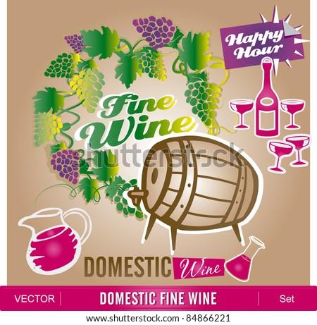 Domestic fine wine - stock vector