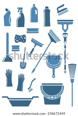 Domestic tools and supplies for cleaning including mop, broom, bucket, brushes, gloves, sponges, dustpan, plunger, squeegee and detergent bottles in blue colors - stock vector