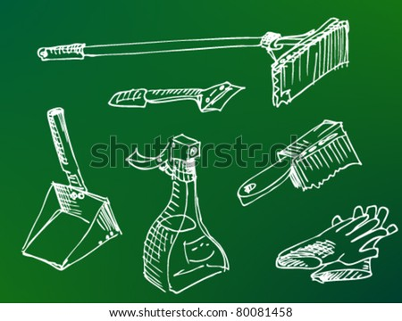 Domestic Tools for cleaning as a doodle pen style drawing