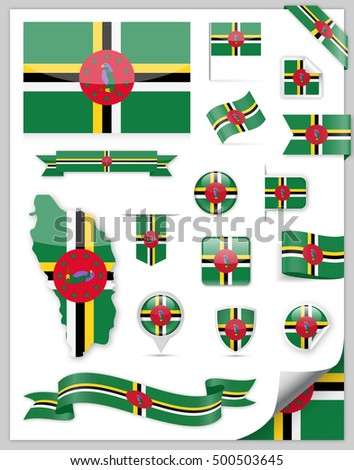 Dominica Flag Set - Vector Collection
