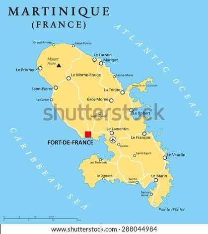 Dominica Political Map Capital Roseau Important Stock Vector - Dominica political map