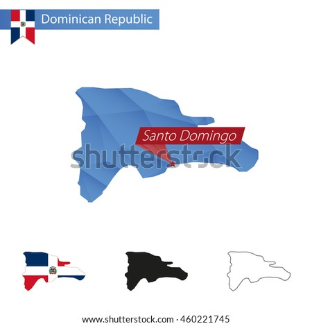 Dominican Republic blue Low Poly map with capital Santo Domingo, versions with flag, black and outline. Vector Illustration. - stock vector