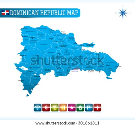 Dominican Republic Blue Map - stock vector