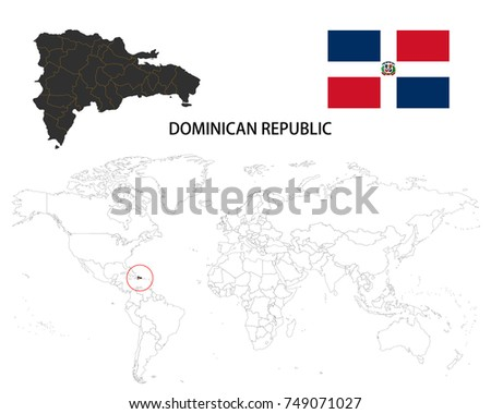Dominican Republic Map On World Map Stock Vector 749071027 ...