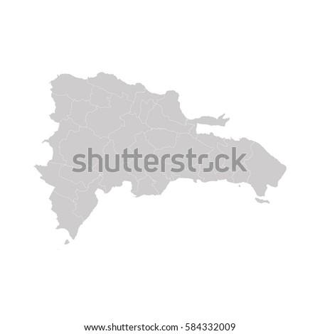 Dominican Republic Map Gray On White Stock Vector - Dominican republic map vector