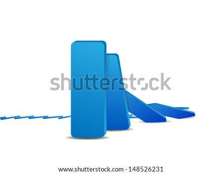 domino effect and problem solving  - stock vector