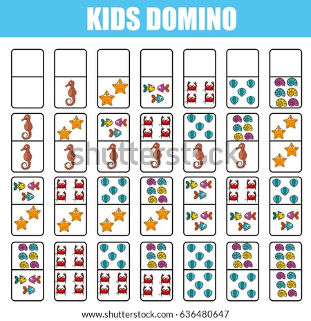 Domino Kids Children Educational Game Printable Stock ...