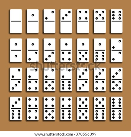 Domino full set with shadows on a brown background. - stock vector