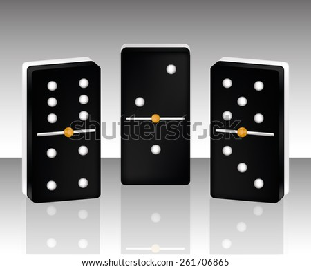 domino isolated leisure time black  - stock vector
