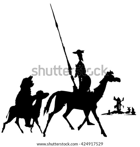 Don Quixote and Sancho Panza ink sketch. The characters of Cervantes' novel. Illustration, vector, isolated.