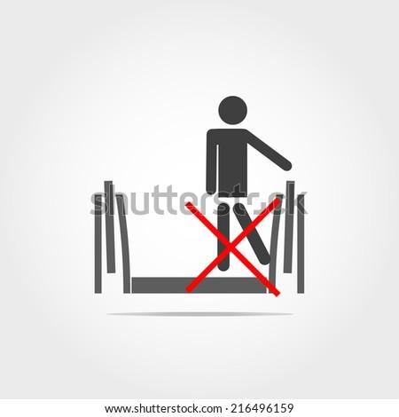 don't leg touch escalator icon - stock vector
