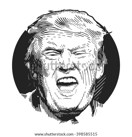 Donald Trump, republican presidential candidate. Los Angeles, California, United States, December 16, 2015. Sketch by hand. Vector illustration - stock vector