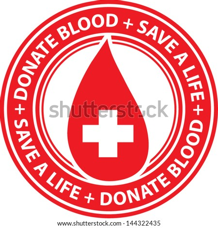 Donate blood stamp - stock vector