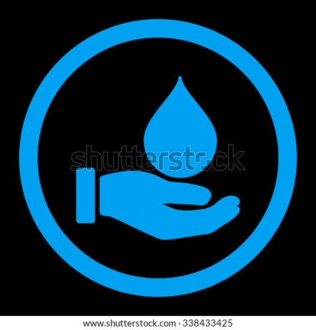 Donate Blood vector icon. Style is flat rounded symbol, blue color, rounded angles, black background.