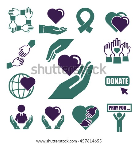 donate, charity icon set