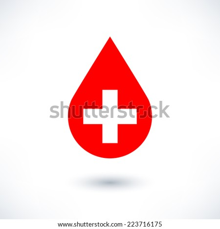 Donate drop blood red sign with cross in flat style. Simple shape with gray drop shadow isolated on white background. Graphic design elements save in vector illustration 8 eps - stock vector