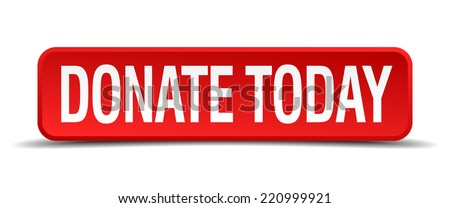 donate today red 3d square button isolated on white background - stock vector