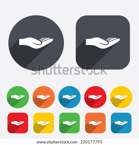 Donation hand sign icon. Charity or endowment symbol. Human helping hand palm. Circles and rounded squares 12 buttons. Vector - stock vector