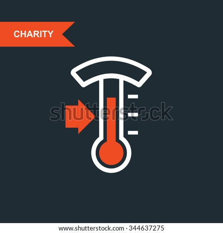 Donation thermometer - charity and telethon icon - stock vector