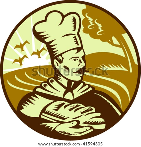 Done in retro woodcut style, imagery shows a baker holding a loaf of bread with farm in the background. - stock vector
