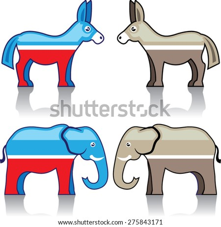 Donkey and Elephant Political Parties - stock vector
