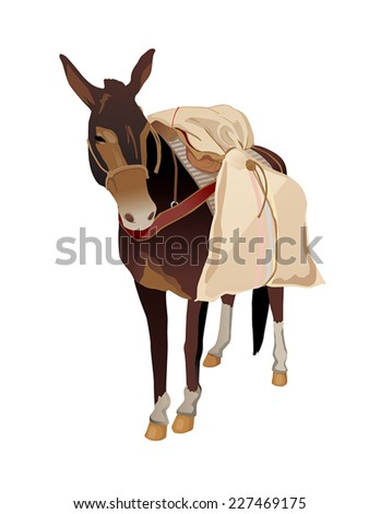 donkey carrying coffee isolated illustration vector - stock vector