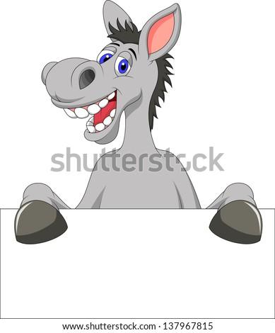 Donkey cartoon with blank sign - stock vector