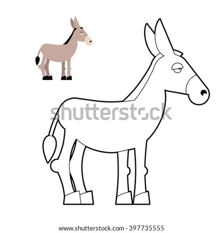 Donkey coloring book. Circuit animal. Childrens coloring book with mule - stock vector