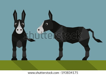 donkey - flat design  Simple illustration in the flat style, colors easy to change - stock vector